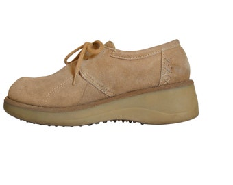 90s Platform Shoe Brown Platform Shoe 90s Grunge Shoe Tan Leather Shoe Creeper Shoe Women Platform Wedge Shoe Women Creeper Platform Oxford