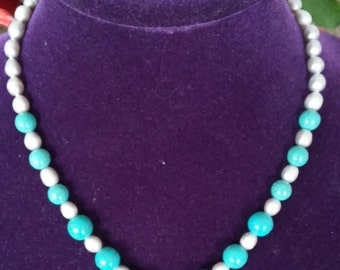 Lovely Pearls with Turquoise Lariet Necklace