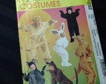 McCall's Costumes pattern MP232 - Adult Animal Costumes: Bunny, Bear, Cat, Lion & Kangaroo uncut 1997 Halloween Party sewing pattern Large
