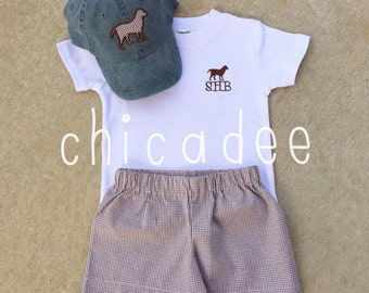 Personalized Chocolate Lab Shirt + Coordinating Bottoms & Hat