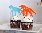 Dinosaur Party Cupcake Toppers, set of 18, Assorted Colors