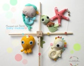 BABY MOBILE, Mermaid and Friends Baby Mobile by Mukibaba, the little mermaid, baby octopus, star fish, seahorse, turtle, ocean mobile