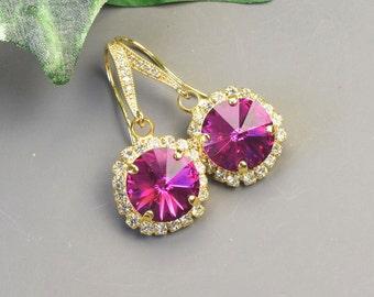 Pink Earrings - Gold Dangle Earrings - Swarovski Earrings - Bridesmaids Earrings - Bridesmaid Jewelry - Crystal Drop Earrings - Bridal