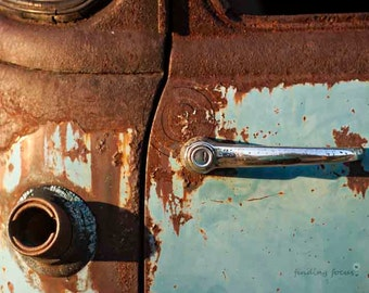 Rust Photo, Abstract Industrial Truck Photography, Door Handle Gas Tank Abandoned Chevy Pickup, Turquoise Robins Egg Powder Blue Rusty Brown
