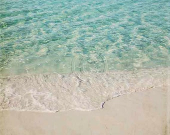 Sand & Surf Shore Photography, Beach Landscape, Caribbean Sky Blue Pale Teal Clear Water Bisque Sand Ocean Photo, Serene Tropical Square Art