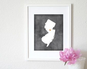 New Jersey Chalkboard State Map Customizable Art Print.