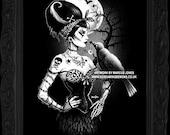 Gothic, Zombie,Rockabilly, crow, dark Art Print by Marcus Jones