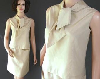 60s Separates 2 Piece Set Blouse Skirt Mad Men Pary Tan Majestic