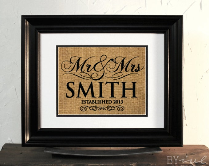 Mr. & Mrs. Sign. Custom Last Name Burlap. Gift for Wedding or Anniversary. Unframed.