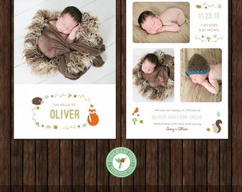 5x7 Birth Announcement Card, New Baby, Woodland Animals, Photo Card Template - B22