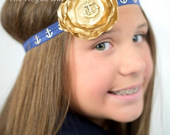 Nautical Anchor Headband -  Gold & Navy Blue - Newborn Infant Baby Toddler Girls Adult - Gold Anchor - Navy Blue Headband - Baby Headband