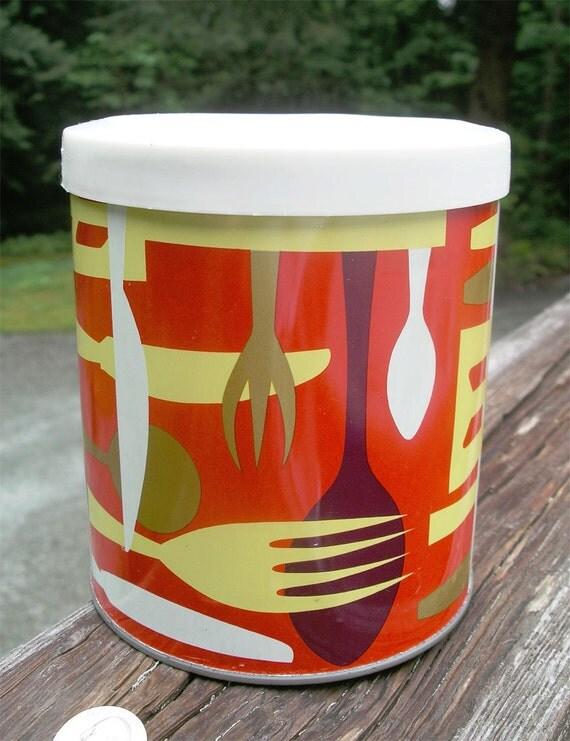 Vintage Tin Cansiter Mid Century Modern Shortening Can