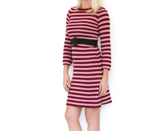 Vintage Striped Dress Fuzzy Knit Dark Red and Pink Small - Medium