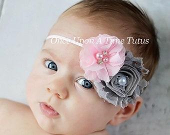 Baby Pink Gray Shabby Chiffon Headband - Grey Baby Girl First Photo Prop - Trendy Modern Little Girls Hairbow Accessory - Skinny Hair Bow
