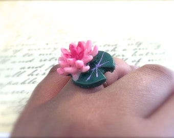 Pink Lotus Flower and Green Lily Pad Ring. Adjustable Silver Band. Garden. Pond. Nature Jewelry. Resin. Summer. Frog Love. Pink Water Lilies