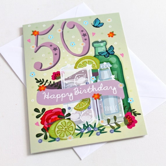 Handmade Gin and Tonic 50th Birthday Card