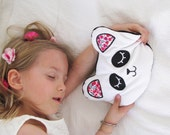 Panda soft toy handmade with black and white velvet and liberty fabric