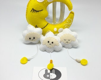 Felt yellow moon and sheep baby mobile baby shower gift and nursery decor
