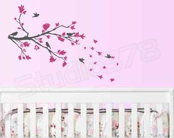 Cherry Blossom Branch Vinyl Wall Decal | Nursery Wall Decor | Home Decor | Baby Nursery Decals | Children Decor | Girls Wall Art | 44x22