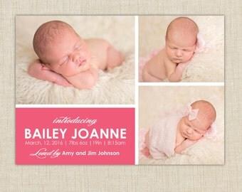 Modern birth Announcement: 3 Photo Birth Announcement. Multiple photo birth announcement