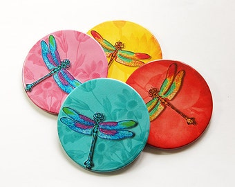 Dragonfly Coasters, Wine Coasters, Coasters, Drink Coasters, Tableware, Dragonfly, Bright Color, Housewarming Gift, Hostess Gift (5016)