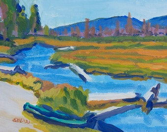 Original Oregon Art Kayak at Odell Creek East Davis Lake CG Small Acrylic Painting on Canvas 6x9 in