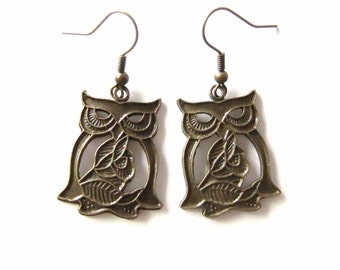 Bronze Owl Earrings, Owl Jewelry Accessories, Owl Earings
