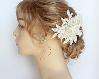 Bridal Hairpiece- Bridal Hair Accessories- Wedding Hair Comb- Bridal Hair Comb- Pearl Bridal Comb- Floral Bridal Comb-Wedding Hair Accessory