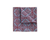 Red on Blue Screenprint Chambray Wedding Pocket square, Silkscreen