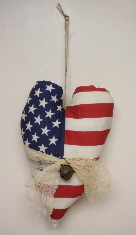 American flag heart patriotic ornament americana
