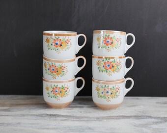 Vintage Tea Cup set, hand painted porcelain w/ peach lustre bands (set of 6)