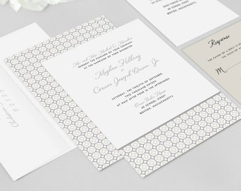 Traditional Wedding Invitations - Entwined Wedding Invitation Set - Wedding Invitations, Modern Wedding Invitations - Deposit to Get Started