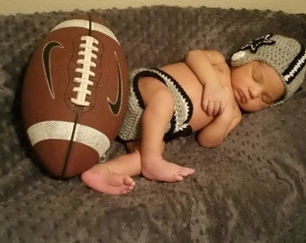 Newborn Crochet Football Helmet and Diaper Cover- Photo prop- gray and blue- baby boy baby girl