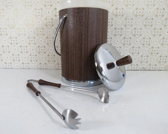 Mid Century Danish Modern Style Tongs // Wooden Handles Stainless Steel Grabbers Ice Cubes Salads Snacks Serving Utensil Hostess Gift Idea