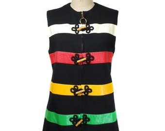 vintage 1970s striped tunic vest / wool blend vinyl / toggle buttons zipper front / mod / 70s vest / women's vintage vest / size large