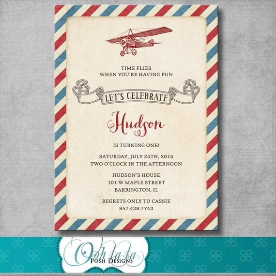 Airplane Birthday Invitation Diy Printable By Vindee On Etsy: Vintage Airplane Birthday Party Invitation 1st First