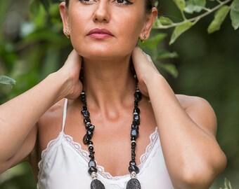 Beautiful large black volcano lava statement chunky necklace, rough black lava stones with black onyx, big black fashion statement necklace