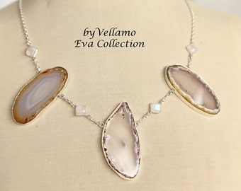Brown white agate slice sterling silver necklace with three large agates, moonstone connectors, beautiful fashion wear bib style necklace