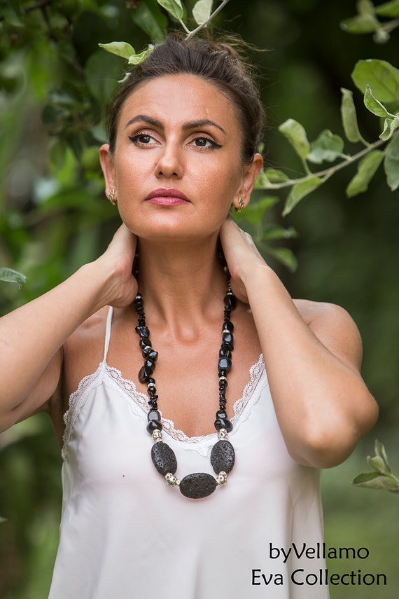 Beautiful large black volcano lava statement chunky necklace, rough black lava stones with black onyx, big black fashion statement necklace