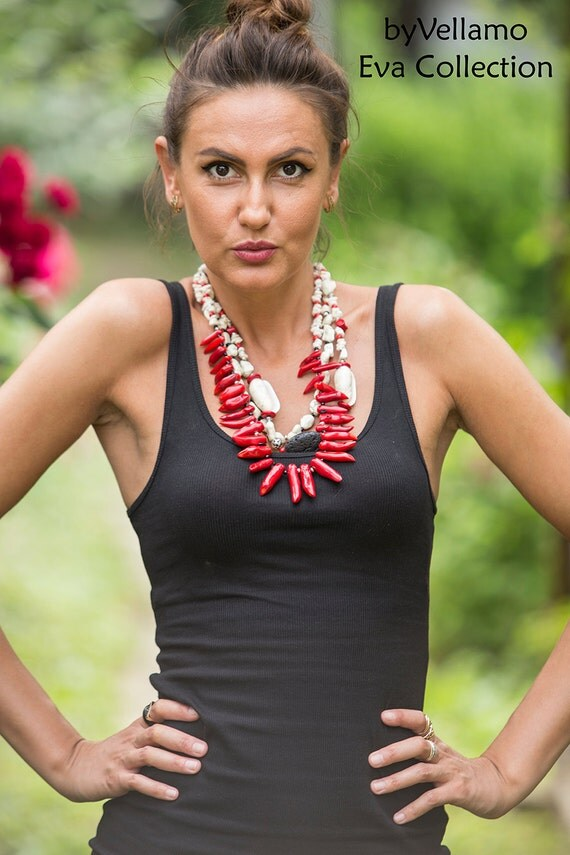 Large chilli pepper chunky necklace, statement bib necklace, white howlite and natural shells, volcanic lava, red coral stones, multi strand