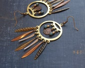 Dream Catcher Earrings Boho Dreamcatcher Native American Jewelry Large Statement Earrings Boho Chic Earrings Tribal Spikes Hippie Jewelry