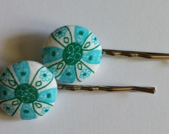Blue and Green Flower Fabric Button Bobbie Pins