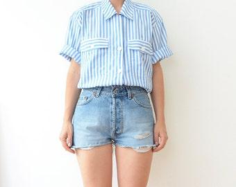 Vintage blue striped women 90s shirt / top button up blouse
