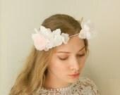 Handmade Silk Bridal Flower Crown - 'Liana' - Hand Cut and Pressed Silk Flowers - Blush and White