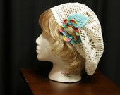 Lightweight white Bohemian summer hat crochet slouchy beanie Hand crochet lace beret Hipster Boho hat Festival hippie hat Women accessories