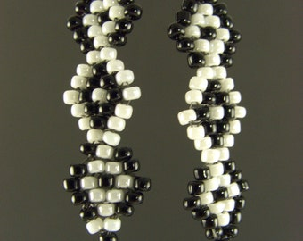 White and Black Seed Stacks earrings