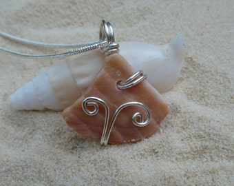 Drilled and wire wrapped seashell necklace with sterling silver chain