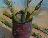 Asparagus in earthen cup, original oil painting