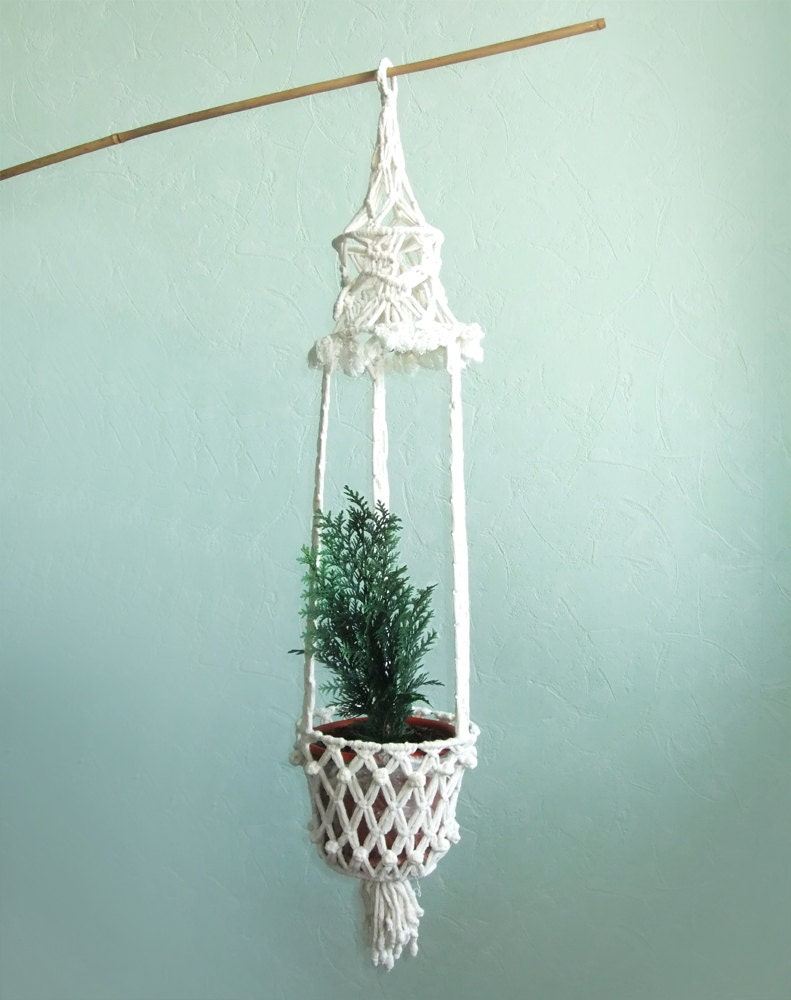 vintage macrame white plant hanger macrame pot holder
