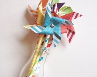 Paper Pinwheels // Non-Spinning Paper Pinwheels // Rainbow Pinwheels // Mini Pinwheels // Paper Windmills // Pinwheel Cake Toppers